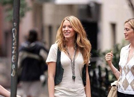 Actress Blake Lively is seen on location for Gossip Girl August 11,